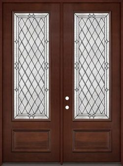 "8'0"" Tall Diamond 3/4 Lite Pre-finished Mahogany Wood Double Door Unit #294"