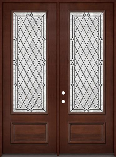 "8'0"" Tall Diamond 3/4 Lite Pre-finished Mahogany Wood Double Door Unit #294"