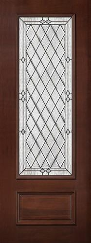 "8'0"" Tall Diamond 3/4 Lite Pre-finished Mahogany Wood Door Slab #294"