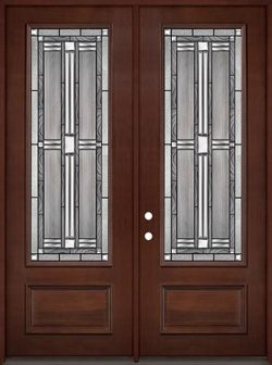 "8'0"" Tall 3/4 Lite Pre-finished Mahogany Wood Double Door Unit #297"