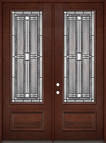 """8'0"""" Tall 3/4 Lite Pre-finished Mahogany Wood Double Door Unit #297"""