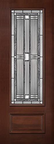 "8'0"" Tall 3/4 Lite Pre-finished Mahogany Wood Door Slab #297"