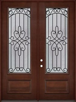 "8'0"" Tall 3/4 Lite Pre-finished Mahogany Wood Double Door Unit #299"