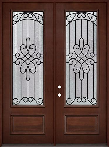 """8'0"""" Tall 3/4 Lite Pre-finished Mahogany Wood Double Door Unit #299"""