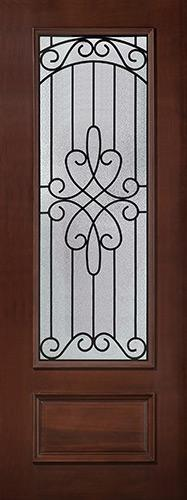 "8'0"" Tall 3/4 Lite Pre-finished Mahogany Wood Door Slab #299"