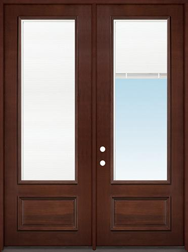 "8'0"" Tall 3/4 Mini-blind Pre-finished Mahogany Wood Double Door Unit"