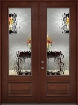 "8'0"" Tall Privacy Glass 3/4 Lite Pre-finished Mahogany Wood Double Door Unit"