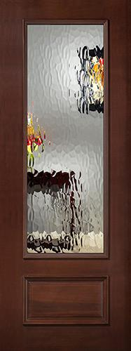 "8'0"" Tall Privacy Glass 3/4 Lite Pre-finished Mahogany Wood Door Slab"