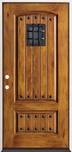 Rustic Pre-finished Fiberglass Prehung Door Unit with Speakeasy & Clavos