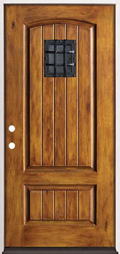 Rustic Pre-finished Fiberglass Prehung Door Unit with Speakeasy