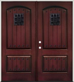 Rustic Pre-finished Mahogany Fiberglass Prehung Double Door Unit with Metal Speakeasy & Clavos