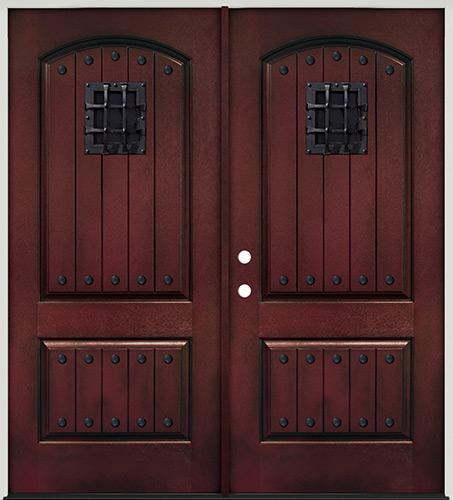 Rustic Pre-finished Mahogany Fiberglass Prehung Double Door Unit with Metal Speakeasy & Clavos