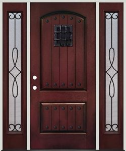 Rustic Pre-finished Mahogany Fiberglass Prehung Door Unit with Sidelites, Metal Speakeasy & Clavos