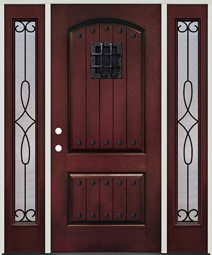 Rustic Pre-finished Mahogany Fiberglass Prehung Door Unit with Sidelites, Metal Speakeasy & Clavos