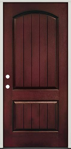 Rustic Pre-finished Mahogany Fiberglass Prehung Door Unit