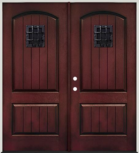 Rustic Pre-finished Mahogany Fiberglass Prehung Double Door Unit with Metal Speakeasy