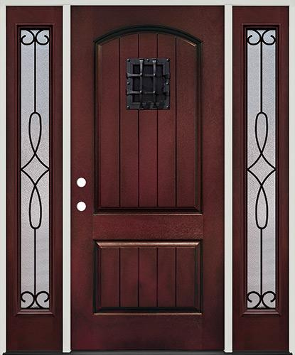 Rustic Pre-finished Mahogany Fiberglass Prehung Door Unit with Sidelites & Metal Speakeasy
