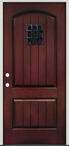 Rustic Pre-finished Mahogany Fiberglass Prehung Door Unit with Metal Speakeasy