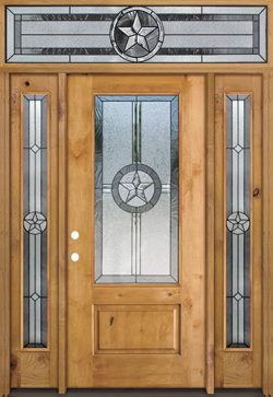 Texas Star 3/4 Lite Knotty Alder Wood Door Unit with Transom #70
