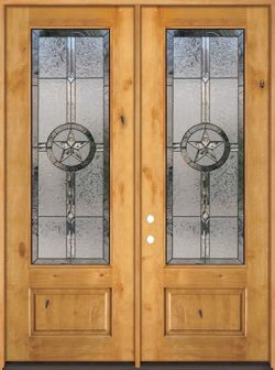 "Texas Star 8'0"" Tall 3/4 Lite Knotty Alder Wood Double Door Unit #90"