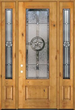 "Texas Star 8'0"" Tall 3/4 Lite Knotty Alder Wood Door Unit with Sidelites #90"