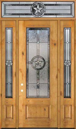 "Texas Star 8'0"" Tall 3/4 Lite Knotty Alder Wood Door Unit with Transom #90"