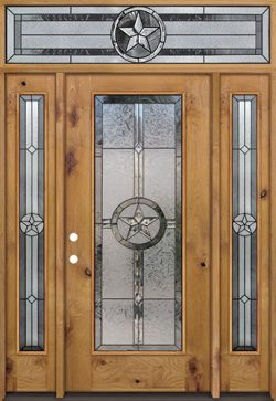 Texas Star Full Lite Knotty Alder Wood Door Unit with Transom #90