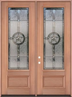 "Texas Star 8'0"" Tall 3/4 Lite Mahogany Wood Double Door Unit #90"