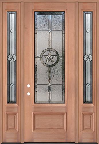 "Texas Star 8'0"" Tall 3/4 Lite Mahogany Wood Door Unit with Sidelites #90"