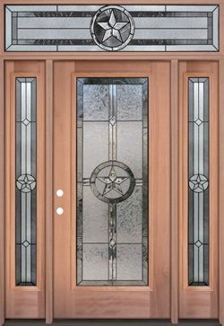 Texas Star Full Lite Mahogany Wood Door Unit with Transom #90