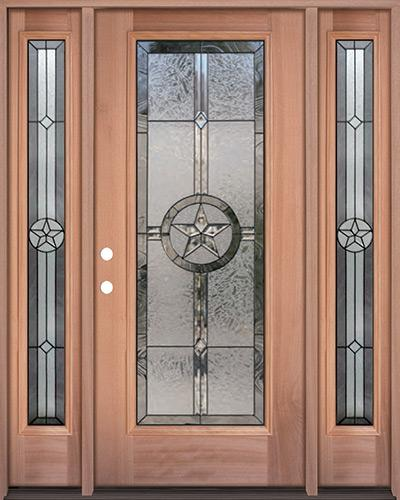 Texas Star Full Lite Mahogany Wood Door Unit with Sidelites #90