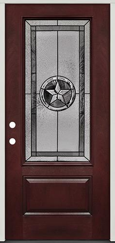 Texas Star 3/4 Lite Pre-finished Mahogany Fiberglass Prehung Door Unit #70