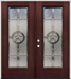 Texas Star Full Lite Pre-finished Mahogany Fiberglass Prehung Double Door Unit #90