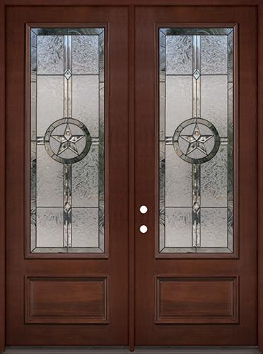 """Texas Star 8'0"""" Tall 3/4 Lite Pre-finished Mahogany Wood Double Door Unit #90"""