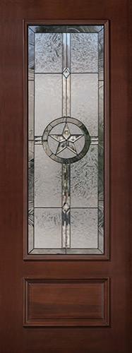 "Texas Star 8'0"" Tall 3/4 Lite Pre-finished Mahogany Wood Door Slab #90"