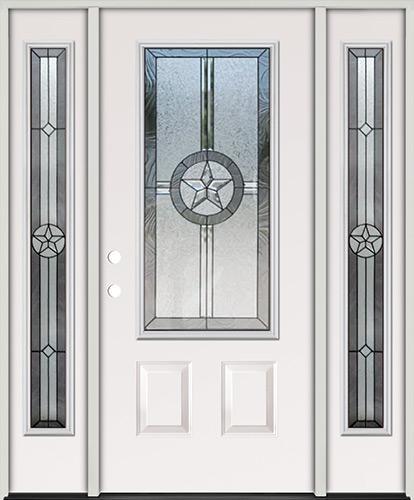 Texas Star 3/4 Lite Steel Prehung Door Unit with Sidelites #70