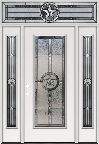 Texas Star Full Lite Steel Prehung Door Unit with Transom #90
