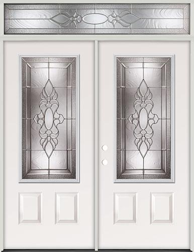 3/4 Lite Steel Prehung Double Door Unit with Transom #73