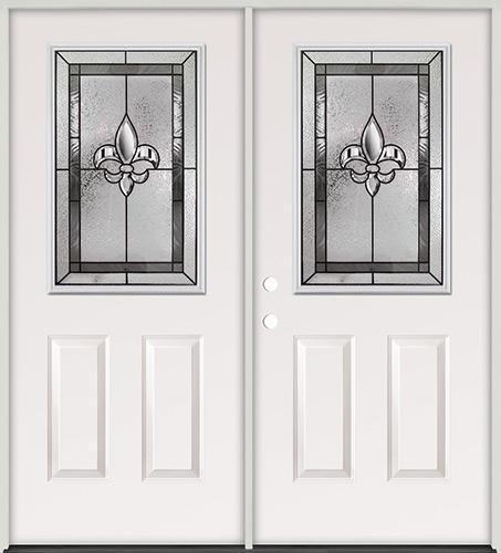 Half Lite Fleur-De-Lis Steel Prehung Double Door Unit #41