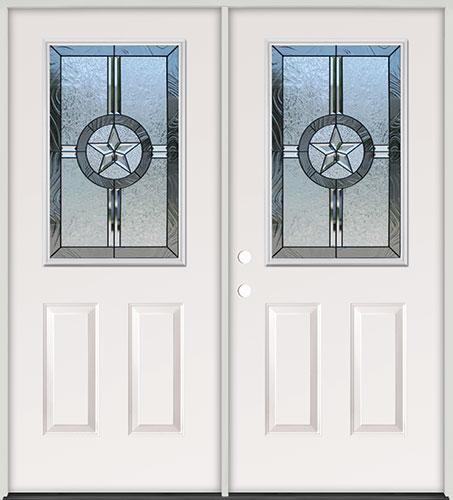 Half Lite Texas Star Steel Prehung Double Door Unit #40