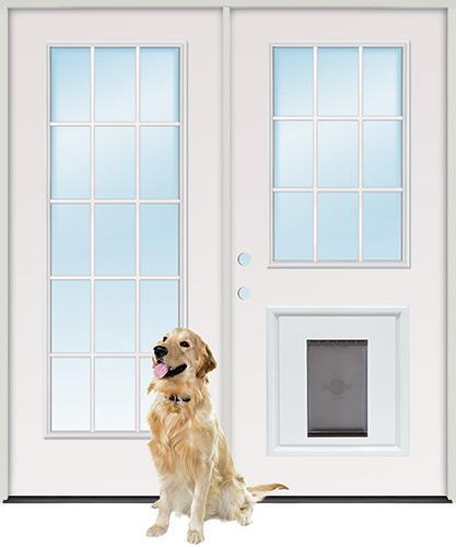 15-Lite/9-Lite Steel Patio Prehung Double Door Unit with Pet Door Insert
