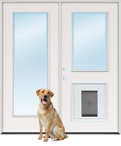 Full Lite/Half Lite Steel Patio Prehung Double Door Unit with Pet Door Insert