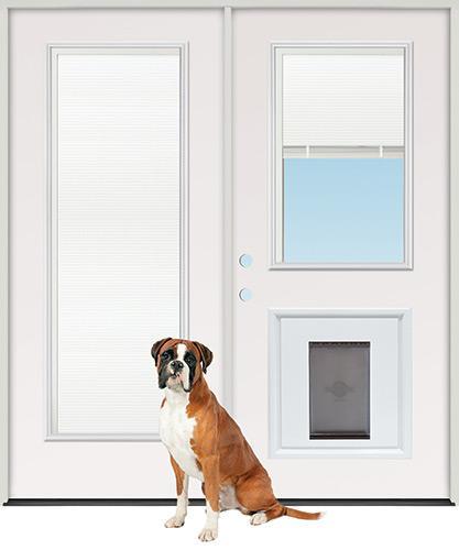 Miniblind Full/Half Lite Steel Patio Prehung Double Door Unit with Pet Door Insert