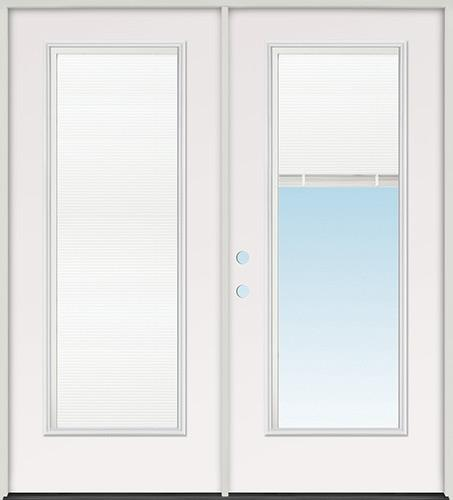 Miniblind Full Lite Steel Patio Prehung Double Door Unit