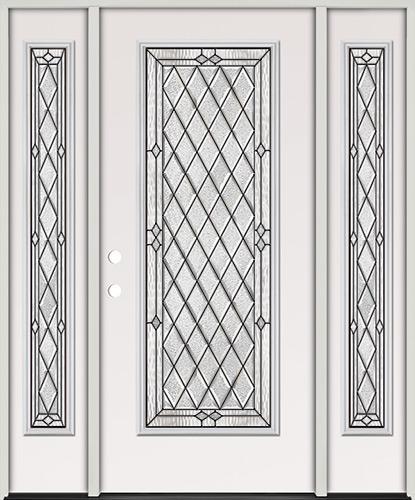 Diamond Full Lite Steel Prehung Door Unit with Sidelites #294