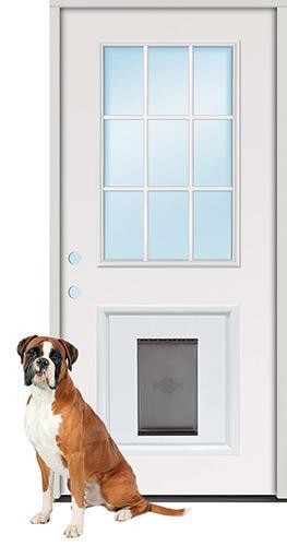 9-Lite Steel Prehung Door Unit with Pet Door Insert