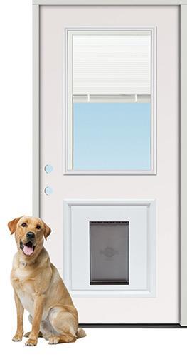 Miniblind Half Lite Steel Prehung Door Unit with Pet Door Insert