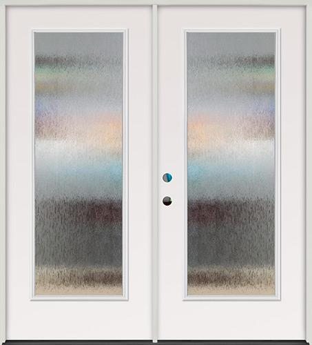 Privacy Glass Full Lite Steel Prehung Double Door Unit