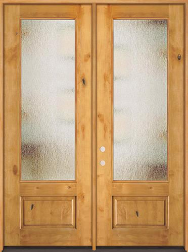 "8'0"" Tall Privacy Glass 3/4 Lite Knotty Alder Wood Double Door Unit"