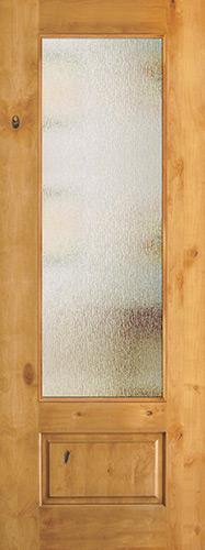 "8'0"" Tall Privacy Glass 3/4 Lite Knotty Alder Wood Door Slab"